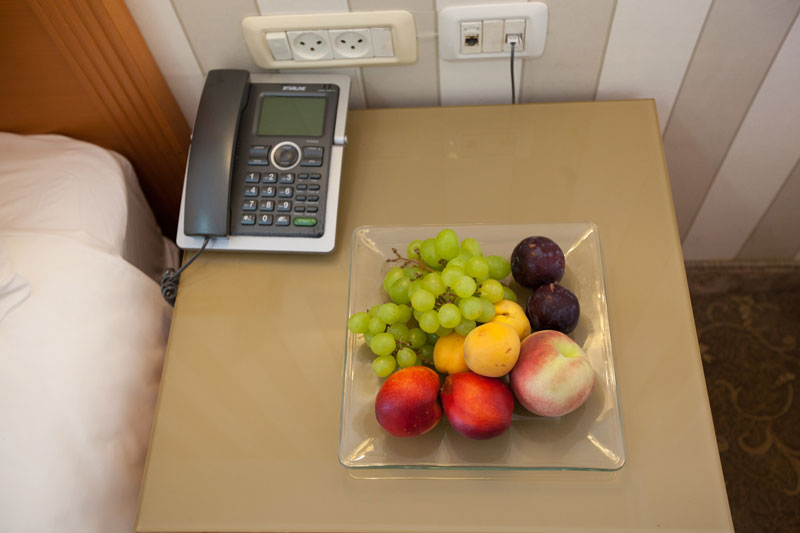 Phone and fruits in the room